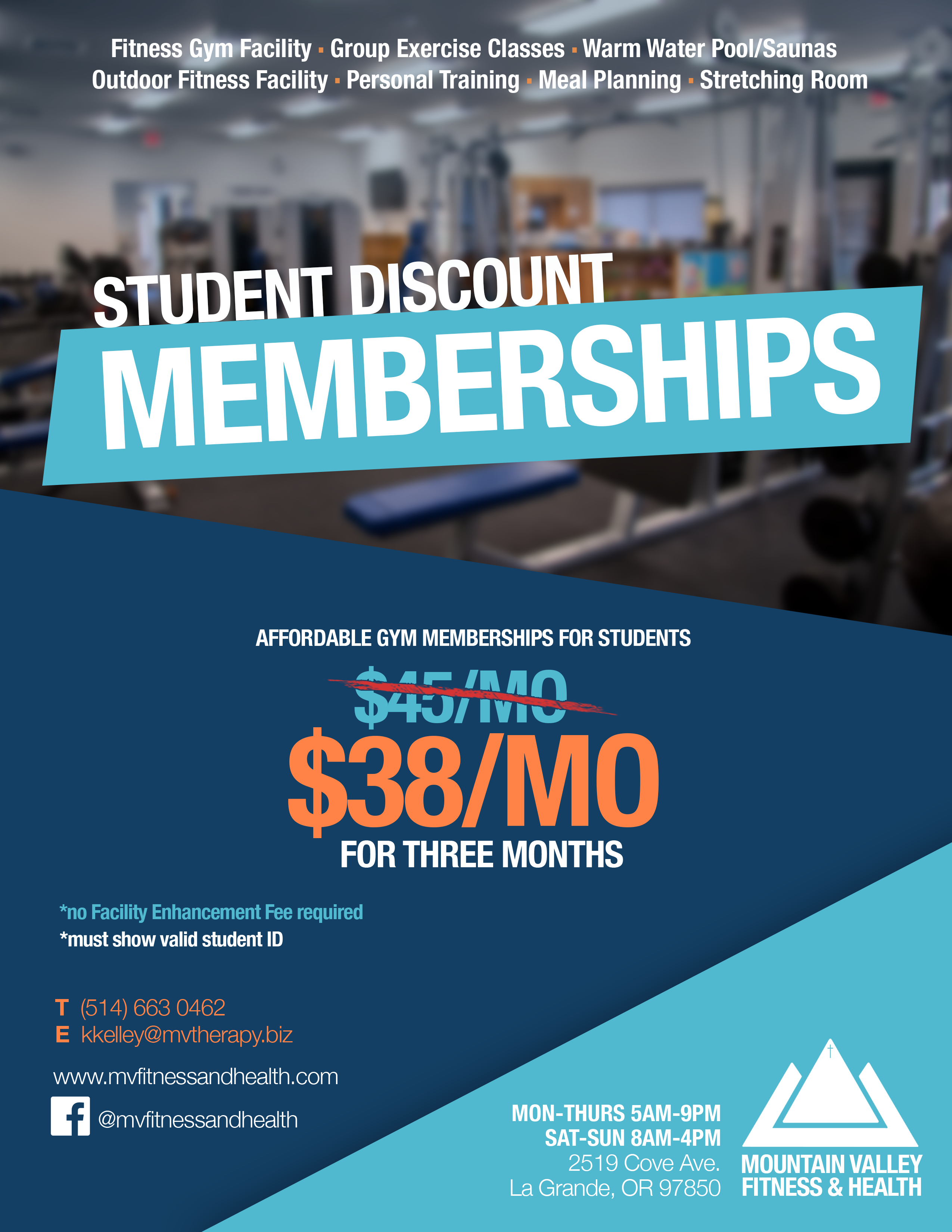 summer student discount mountain valley fitness health